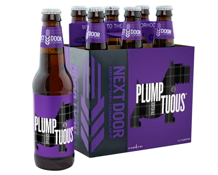 Packaging design for Next Door Brewing's Scottish Ale, Plumptuious