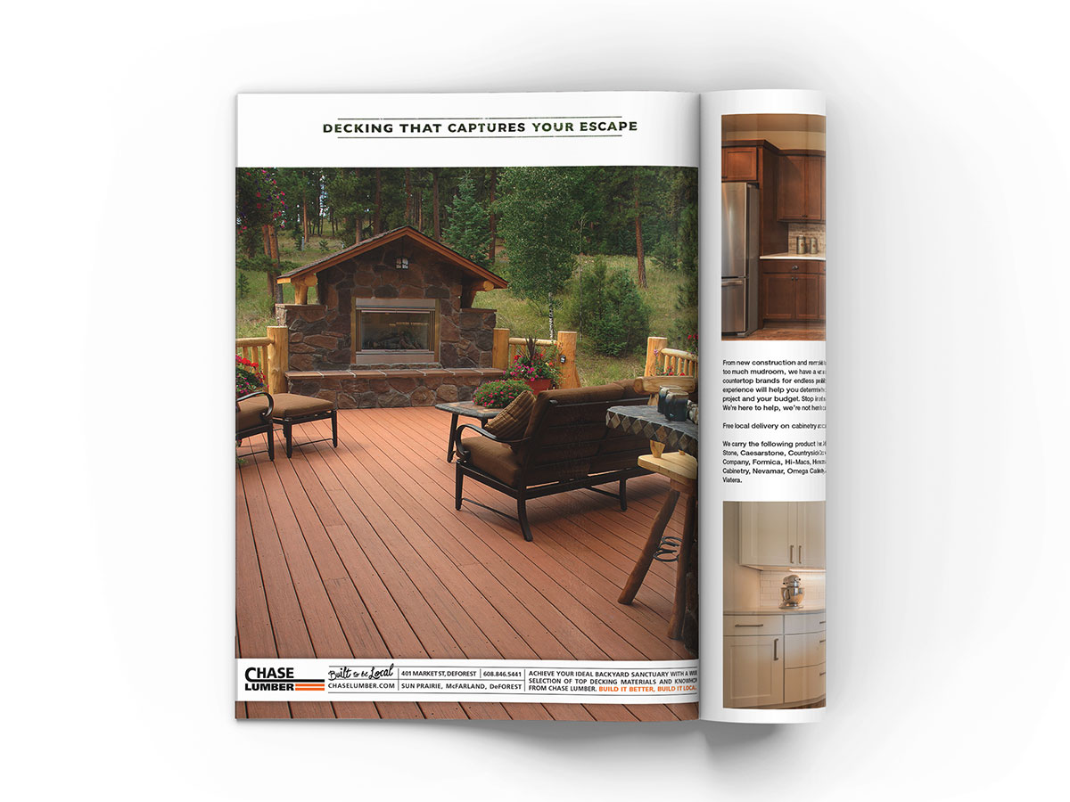 Full page magazine advertisement design featuring a beautiful cabin styled deck