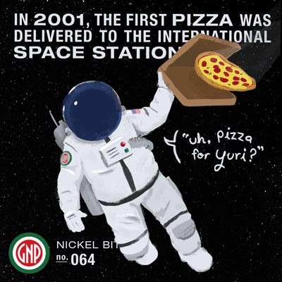 Illustration created for Glass Nickel Pizza's social media featuring an astronaut floating in space with a pizza