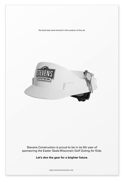 Full page sponsorship ad featuring a golf visor that resembles a construction hat
