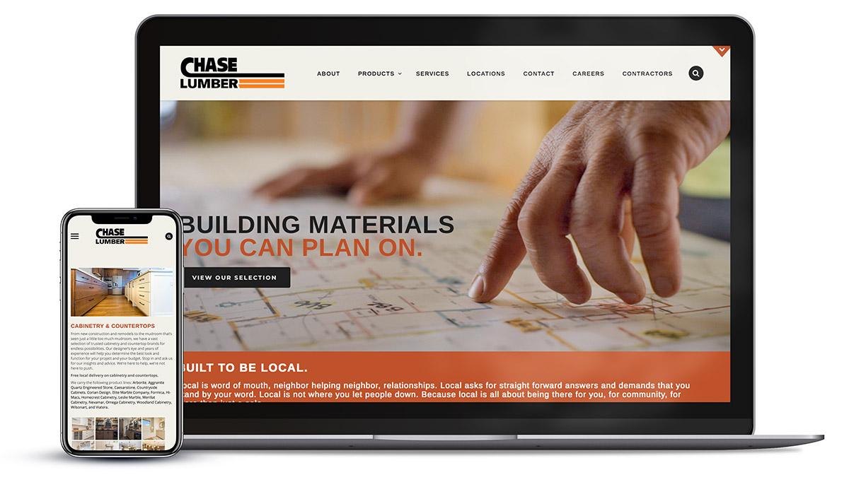 Responsive website design for Chase Lumber