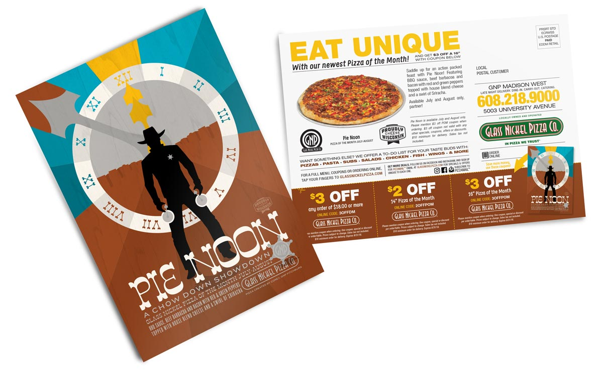 Direct Mail design for Glass Nickel Pizza's Pizza of the Month, Pie Noon