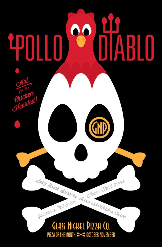 Poster design for Glass Nickel Pizza's Pizza of The Month, Pollo Diablo