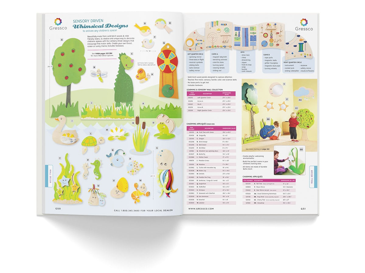 Catalogue spread design for pages 50 and 51 for Gressco