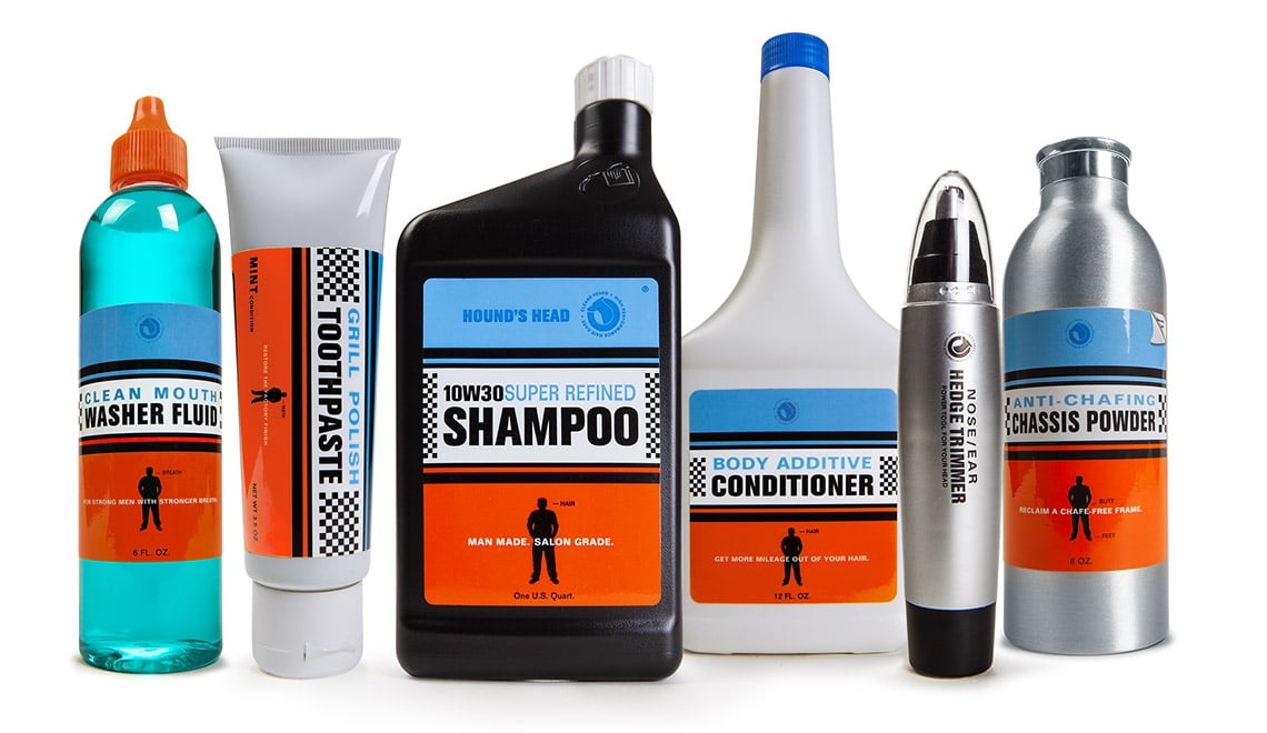 Packaging design for Hound's Head Mouth Wash, Toothpaste, Shampoo, Conditioner, Nose Trimmer, and Anti Chafing Powder