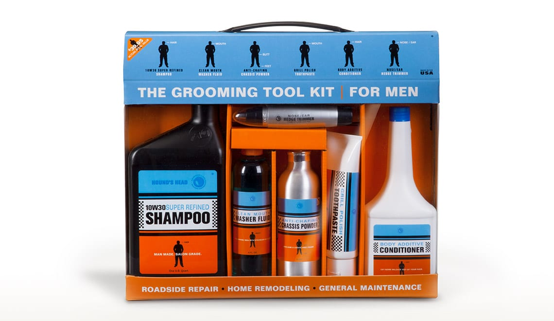 Packaging design for Hounds Head product, The Grooming Tool Kit for Men