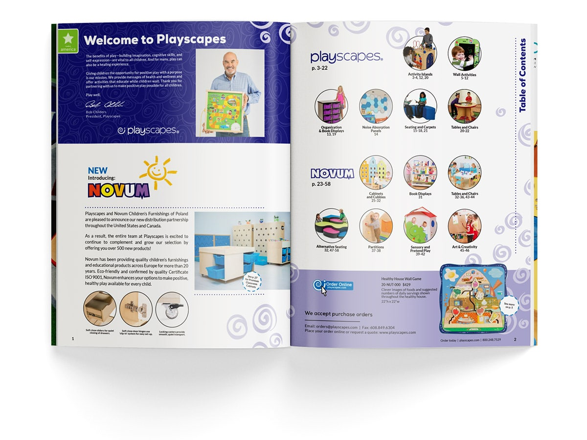 Catalogue spread design for pages 1 and 2 for Playscapes