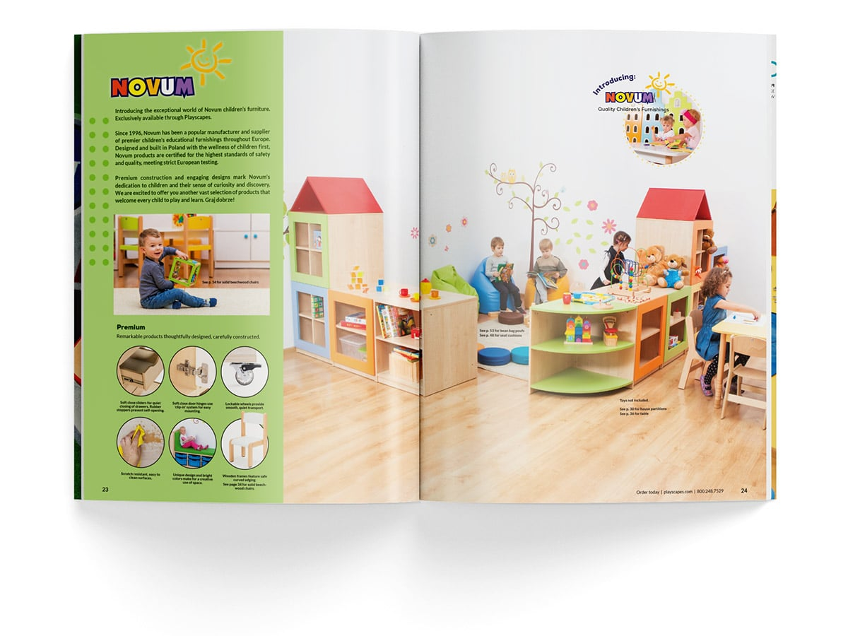 Catalogue spread design for pages 23 and 24 for Playscapes