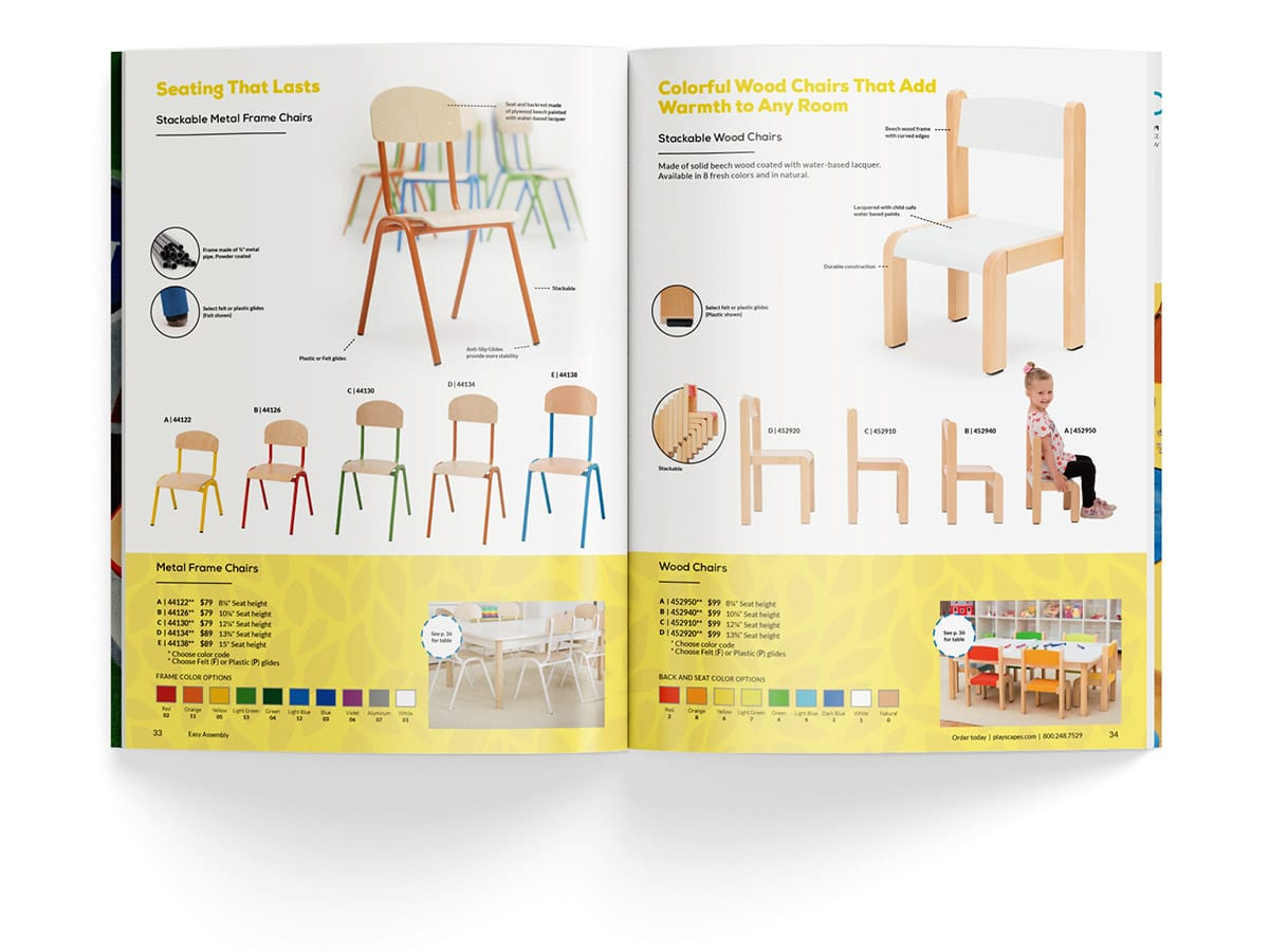 Catalogue spread design for pages 33 and 34 for Playscapes