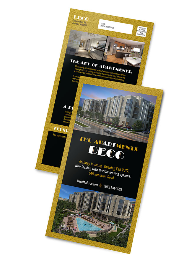 Direct mail design for Deco Apartments