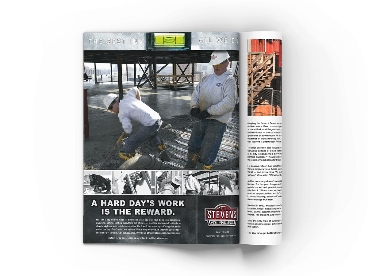 Full page magazine advertisement design featuring construction workers working