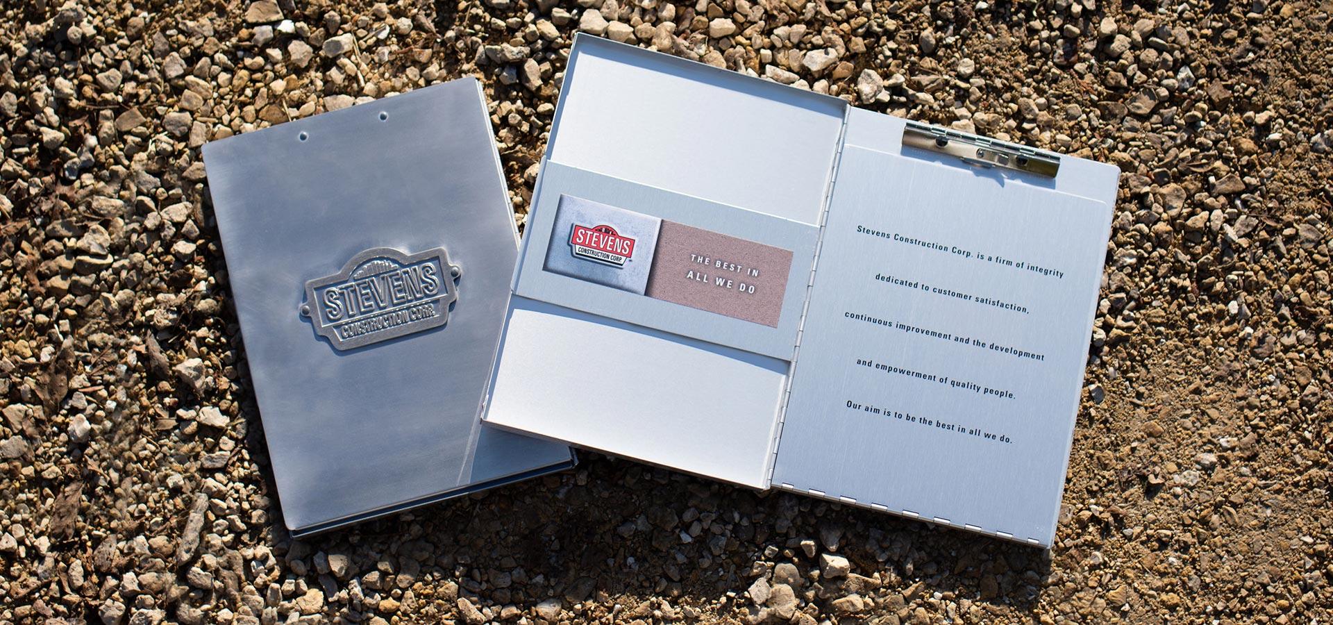 Metal folder design for Stevens Construction