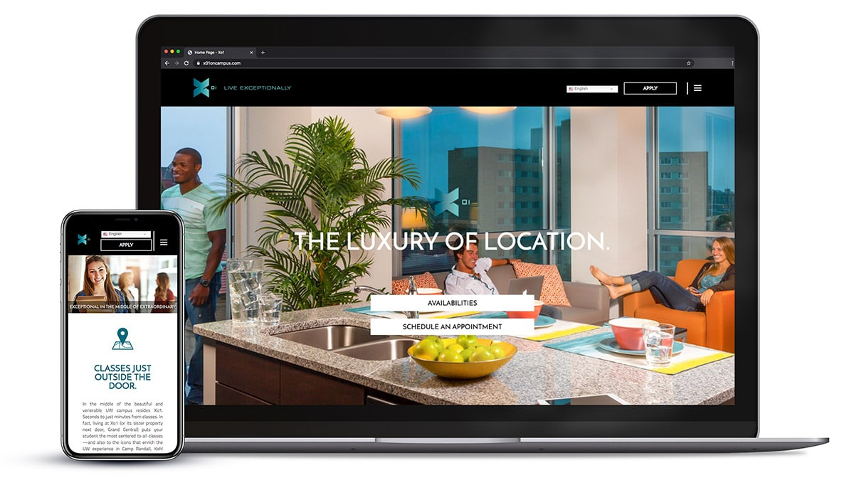 Responsive website design for X01 Luxury Apartments