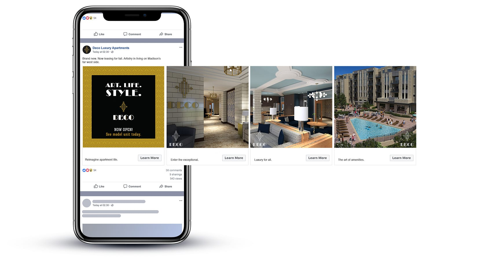 Facebook carousel advertisement for Deco apartments grand opening