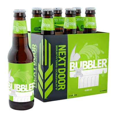 Packaging for a six pack of Bubbler beer